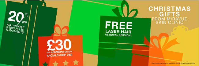 Christmas Gifts, 20% off Skin Fillers & Anti wrinkle injections, £30 Microdermabrasion Facials, FREE Laser Hair Removal Treatment