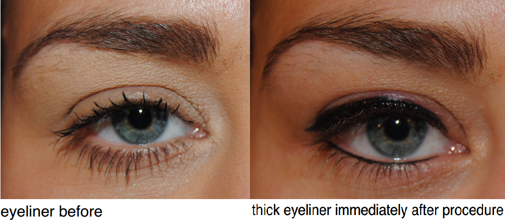 Eyeliner before and after