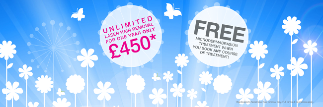 EXCITING MARCH OFFERS, UNLIMITED Laser Hair Removal, Full Face Laser Hair removal only £450, FREE Microdermabrasion Facial